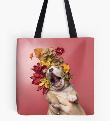 Flower Power, Luvable puppy Tote Bag