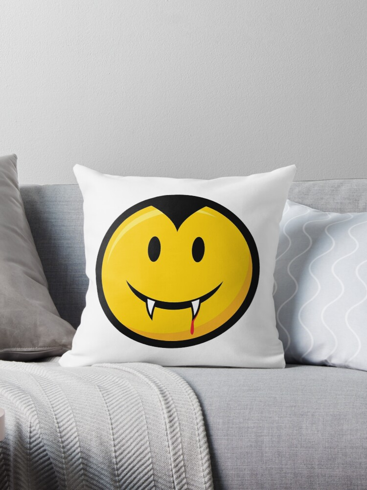 'Vampire Emoji Smiley Face' Throw Pillow by creativecurly