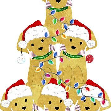 Holiday Preppy Golden Retriever Puppy Christmas Tree by emrdesigns