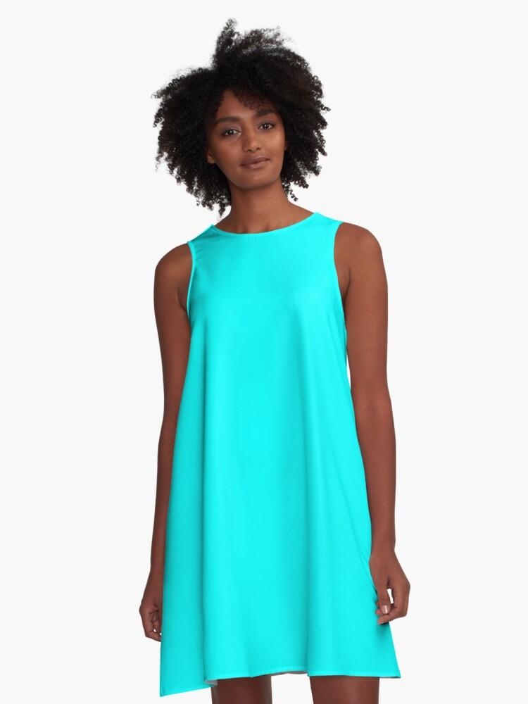 Vestido Acampanado Color Aqua Cyan De Kultjers