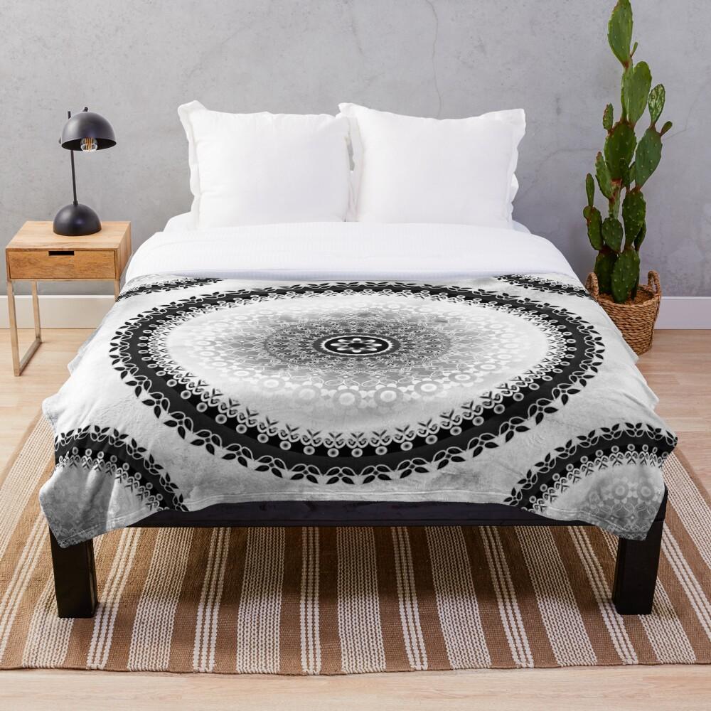 Grey Cloud Mandala Throw Blanket