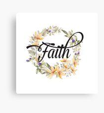 Faith - Floral Christian Typography Canvas Print