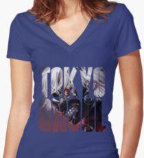 Tokyo Ghoul Logo v3  Women's Fitted V-Neck T-Shirt