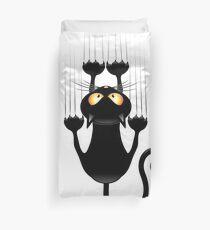Fun Cat Cartoon Scratching Wall Duvet Cover