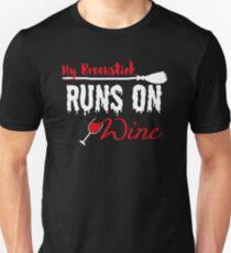 Funny Halloween T-Shirt My Broomstick Runs on Wine Women  T-Shirt