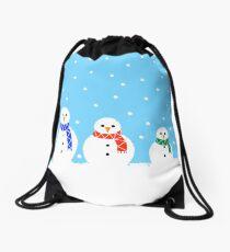 Christmas Snowmen Drawstring Bag