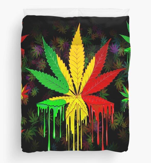 Marijuana Leaf Rasta Colors Dripping Paint by BluedarkArt