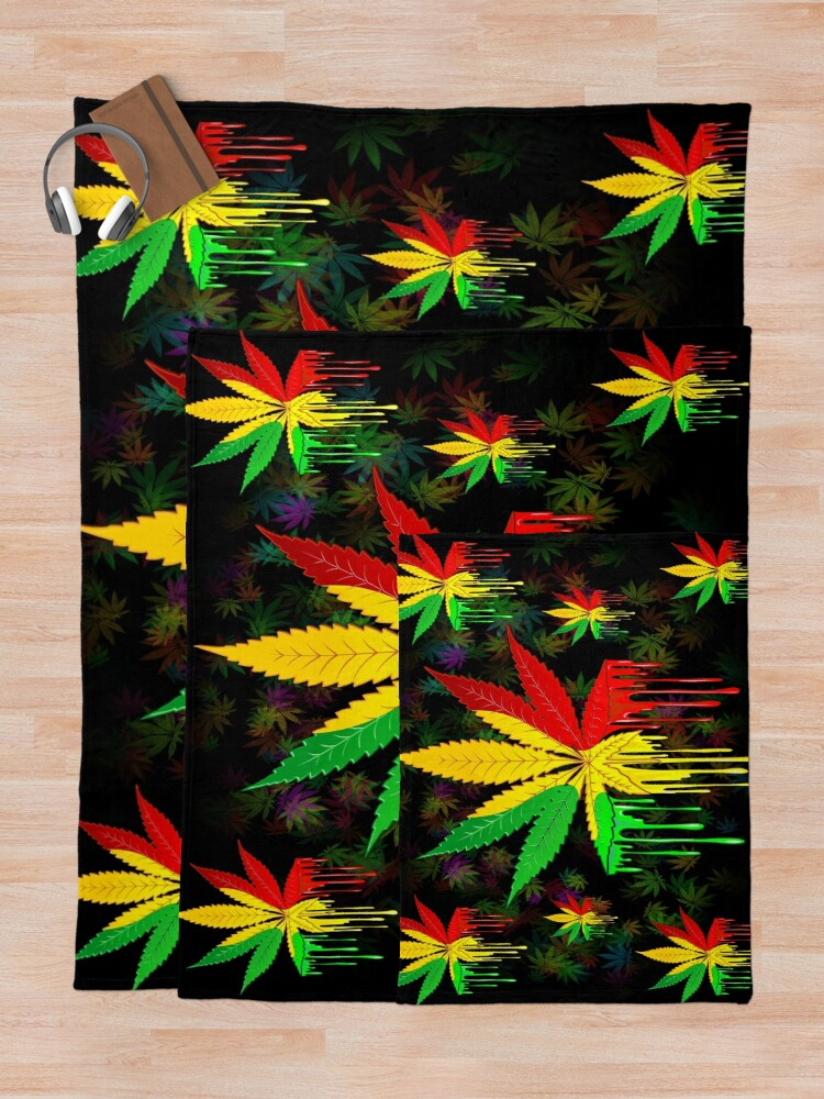 Alternate view of Marijuana Leaf Rasta Colors Dripping Paint Throw Blanket