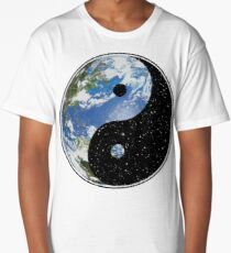 Earth and Space Yin Yang Symbol Long T-Shirt