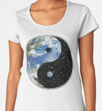 Earth and Space Yin Yang Symbol Women's Premium T-Shirt