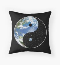 Earth and Space Yin Yang Symbol Floor Pillow