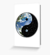 Earth and Space Yin Yang Symbol Greeting Card