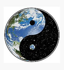 Earth and Space Yin Yang Symbol Photographic Print