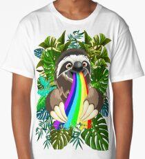 Sloth Spitting Rainbow Colors Long T-Shirt