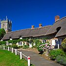 Thatched Cottages and Church, Godshill by Rod Johnson