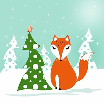 Christmas design. Cartoon red Fox,tree, snow . by marinaklykva