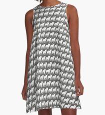 French Bulldog Silhouette (White) A-Line Dress