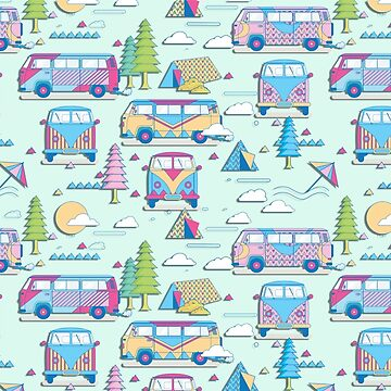 Pastel Hippie Bus Camping Trip by tsuttles