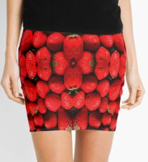 Strawberries Pattern T-Shirt Dress Mini Skirt - Strawberry Sticker Mini Skirt