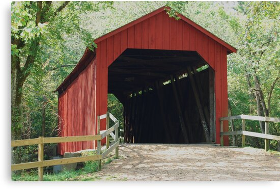 Sandy Creek Covered Bridge in Summer by barnsis