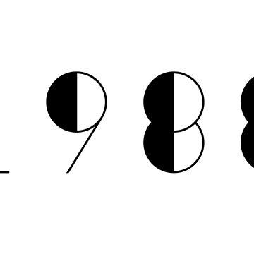 Born in 1988 Vintage Numbers Birthday Birthdate  by Birthdates