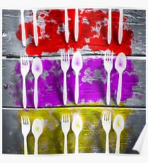 fork and spoon with splash painting texture abstract background in pink red yellow Poster