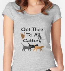 Get Thee To A Cattery Women's Fitted Scoop T-Shirt
