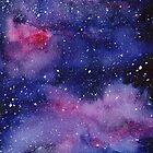 Galaxy Nebula Watercolor by Olga Shvartsur