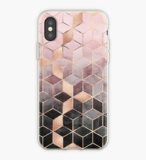 Cubes dégradés roses et gris Coque et skin iPhone