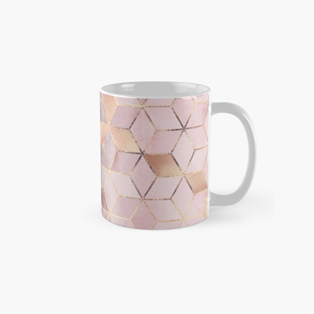 Pink And Grey Gradient Cubes Mugs