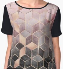 Pink And Grey Gradient Cubes Chiffon Top