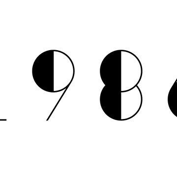 Born in 1986 Vintage Black Text Numbers Birthday Birthdate  by Birthdates