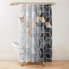 Weiche blaue Farbverlaufswürfel Duschvorhang