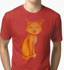 Painting Orange Cat watercolor Tri-blend T-Shirt