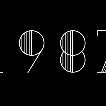 Vintage Paris 1987 White Numbers Typography Birth Date by Birthdates