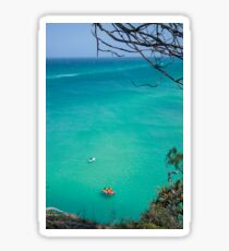 Stradbroke island ocean paddle board lifesavers background view from hill top Sticker