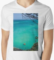 Stradbroke island ocean paddle board lifesavers background view from hill top Men's V-Neck T-Shirt