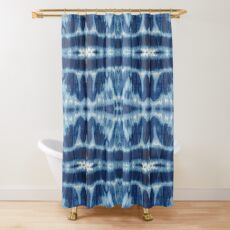Tie-Dye Blues Twos Shower Curtain