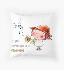 """Alice in Wonderland """"She is a Wildflower"""" Inspirational Throw Pillow"""