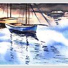 Boat in the river by Anil Nene