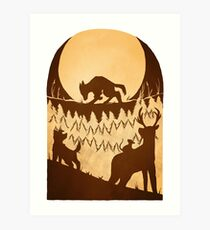 Full Moon in the Forest Art Print