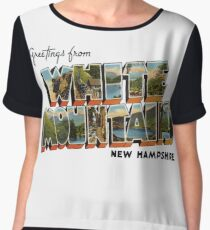 Greetings from the White Mountains, New Hampshire Women's Chiffon Top