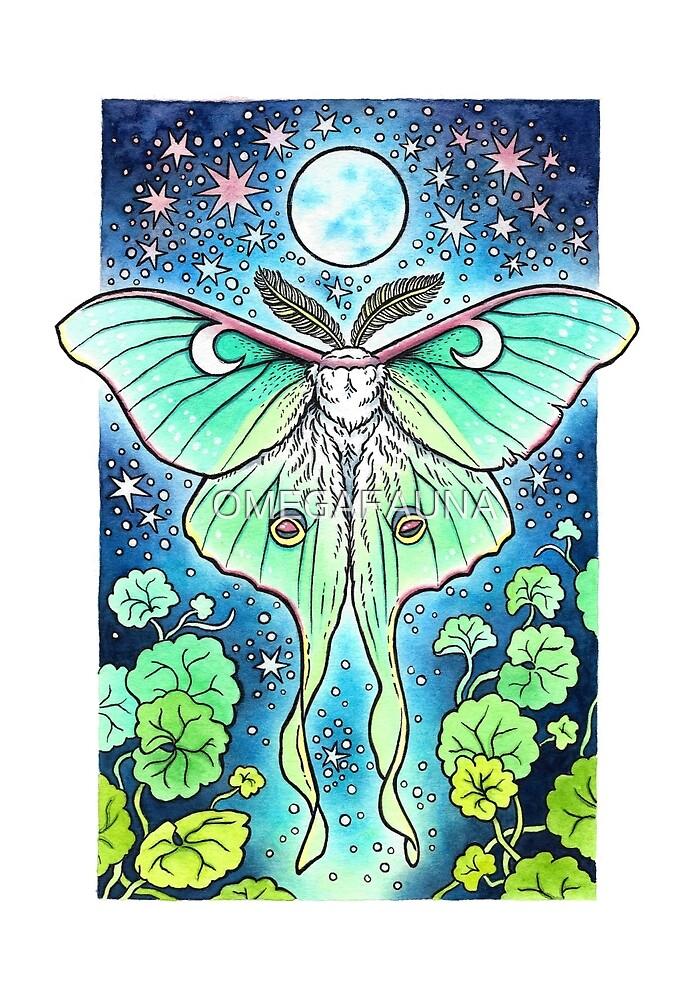 Moth of the Blue Moon   Luna Moth Art & Pattern by OMEGAFAUNA