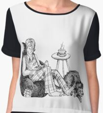 Remus, a Cup of Tea, and a Black Dog Women's Chiffon Top