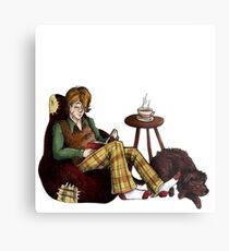 Remus, Tea, Black Dog, Colour Metal Print
