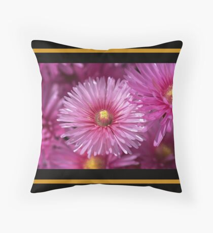 Pink Pigface Flowers Throw Pillow