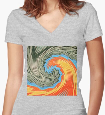Abstract Wave Fitted V-Neck T-Shirt