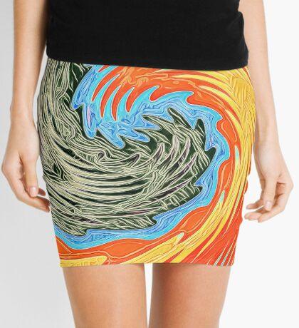 Abstract Wave Mini Skirt