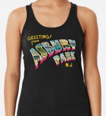Greetings from Asbury Park, New Jersey 0a Racerback Tank Top