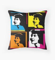 SYLVIA PLATH - WARHOL-STYLE 4-UP COLLAGE ILLUSTRATION Throw Pillow